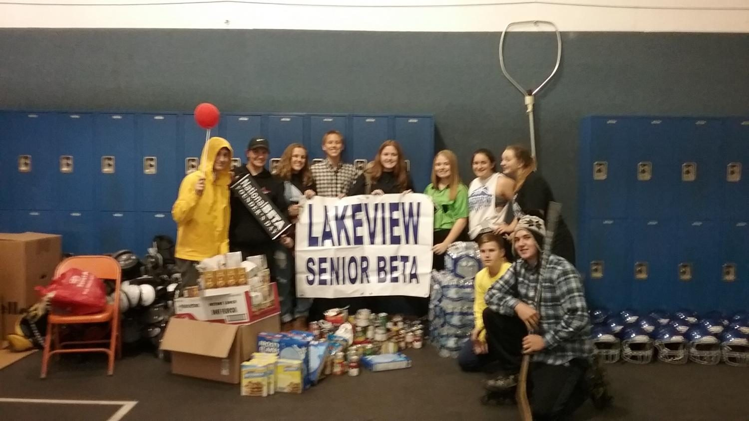 Pictured: The winning group who collected 464 items.