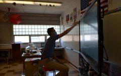 Long-term math substitute Matt Baker teaches an online class.