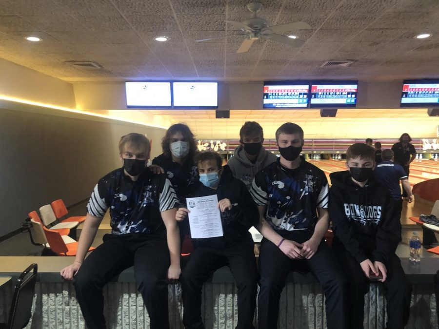 Bowling boys after they worked hard at districts to make a spot for state.